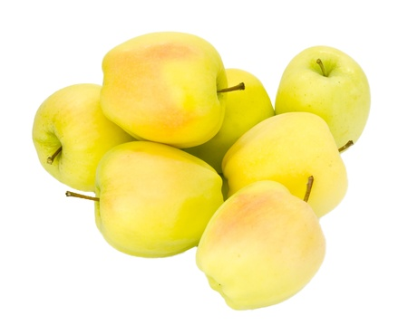 Freshly harvested Golden Delicious apples on isolated on white Stock Photo