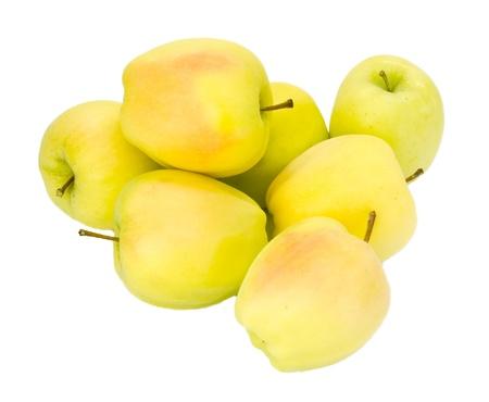 Pommes Golden Delicious fra�chement r�colt�es sur fond blanc isol�e sur