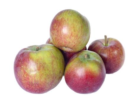 Arrangement of freshly harvested McIntosh apples isolated on white Banco de Imagens