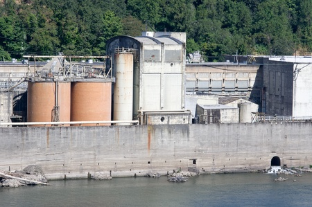A large industrial complex sited on a river