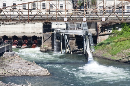 water ecosystem: Water flows through a flume at an industrial site on a river Editorial