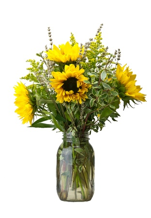 A flower arrangement with sunflowers and goldenrod photo