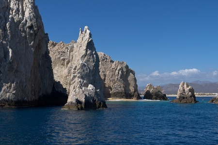 travelled: Dramatic rock formations rise from the Pacific ocean off the coast of Cabo san Lucas