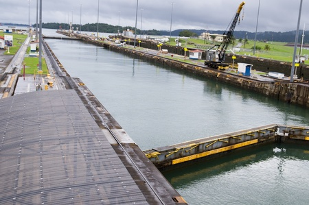 colon panama: The pool at Gatun Locks on the Panama Canal
