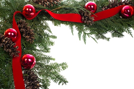 cedars: A decorative border of pine boughs ornaments cones and ribbon isolated on white