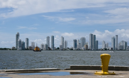 The Cartagena skyline from the container port dock