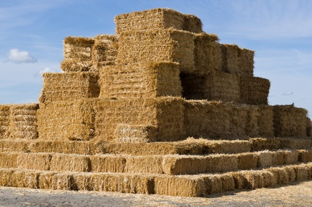 A large stack of square hay bales ready for transport Banco de Imagens