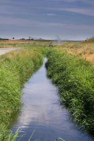 irrigate: An irrigation canal providing water to crop lands