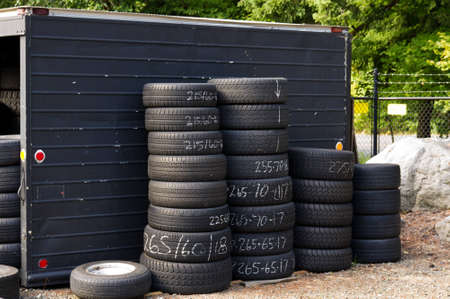 radial tire: A stack of automobile tires ready for use