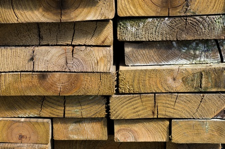 A stack of lumber cut into boards drying in the sun