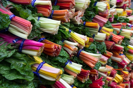 Fresh colorful swiss chard on display at the farmers market