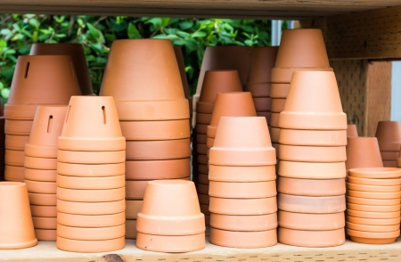 A display of clay or terracotta pots for planting
