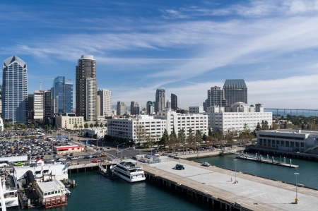 Cityscape of San Diego California from the harbor Stock Photo