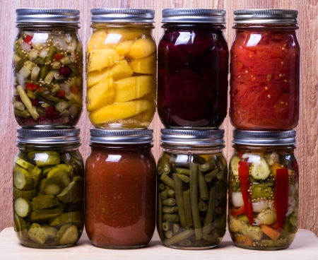 canning: Display of fresh homemade vegetables and fruits