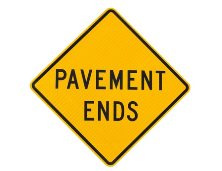 Pavement ends warning sign roadside sign Stock Photo - 13927510