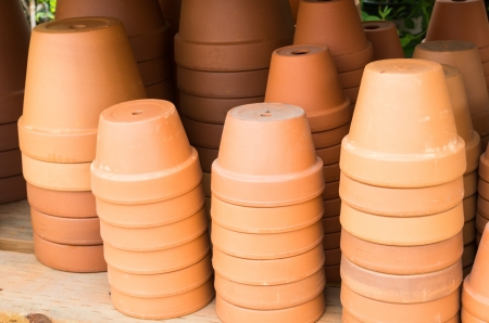 A display of terracotta clay pots or planters Stock fotó