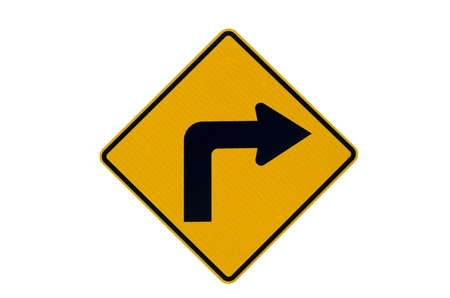 Right turn warning yellow traffic sign Stock Photo