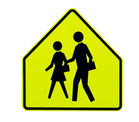 highway signs: Yellow bright pedestrian crossing traffic sign Stock Photo