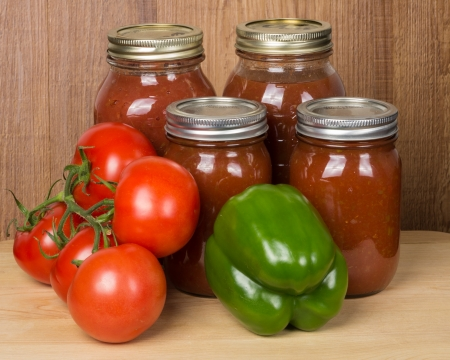 Fresh tomato sauce homemade with peppers and tomatoes photo