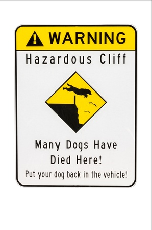 Sign warning of hazard dangerous cliff Stock Photo - 14363316