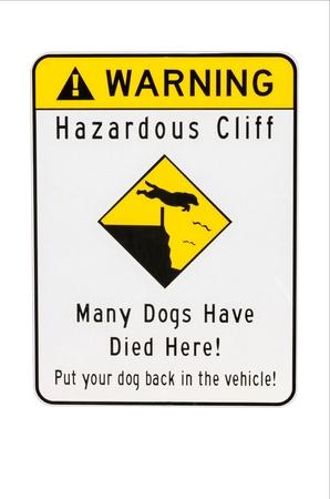Sign warning of hazard dangerous cliff Stock Photo - 14363316