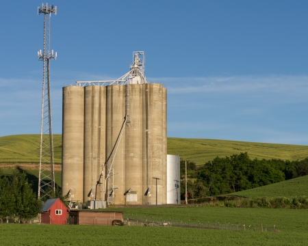 grainery: A vintage grain elevator shares space with a modern cell phone tower