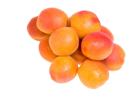 Group of fresh ripe apricots isolated on white Stock Photo - 14481450