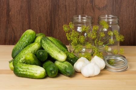 Pickles or cucumbers ready to be processed with garlic and dill photo