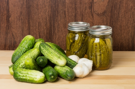Pickles or cucumbers with finished jars of pickles and garlic and dill photo