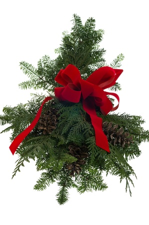 Christmas decoration made of greens boughs and a red bow Stock Photo - 14608050