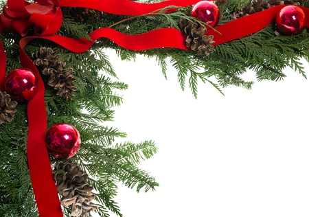 Christmas corner border with red bow and pine cones Stock Photo - 14760748