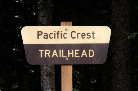 Pacific Crest Trail sign on wooden post photo