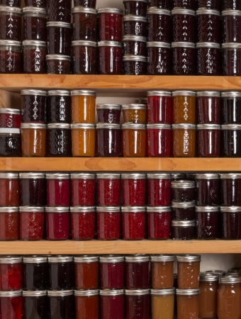 sauces: Shelves of homemade jams and jellies preserves