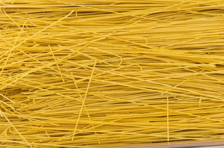 Fresh dried thin pasta on display at the farmers market