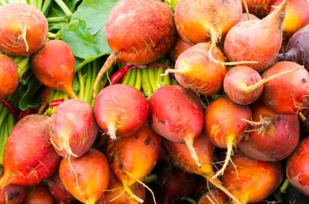 Verse oranje of rode bieten op het display op de markt Stockfoto