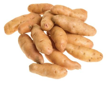 Freshly harvested fingerling potatoes isolated on white Stock Photo