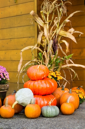 Fall display of decorations with pumpkins Stock Photo