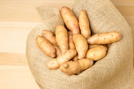 fingerling: Fresh fingerling potatoes in a burlap sack Stock Photo