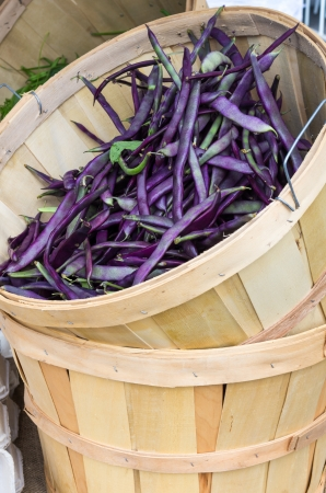 Wooden basket display of purple beans at the market photo