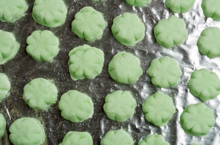 Tray of green candy mints ready to eat