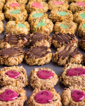thumbprint: A tray of decorated thumbprint cookies