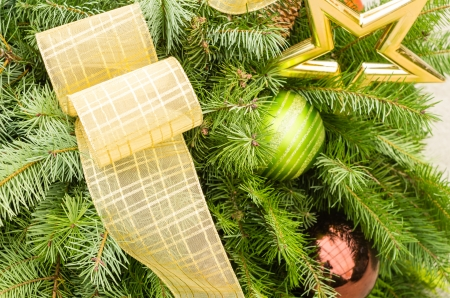 arrangment: Decorated Christmas arrangment with ribbon and ornaments Stock Photo