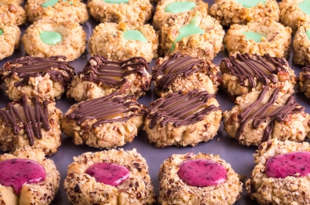 thumbprint: Rows of thumbprint cookies with fillings and nuts