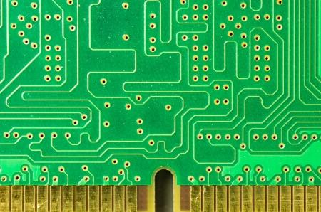 printed circuit board: Un gros plan d'une carte de circuit imprim� avec contacts or