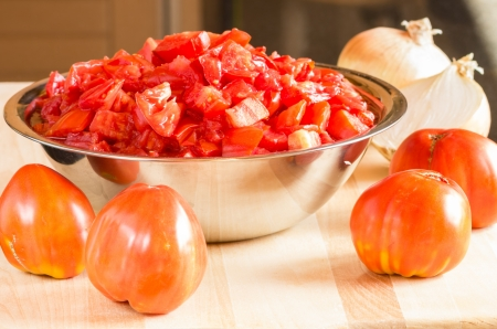 diced: A bowl with diced tomatoes with onions and tomatoes