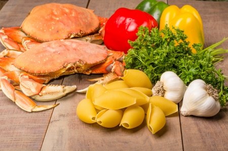 Ingredients for making Dungeness Crab Pasta photo