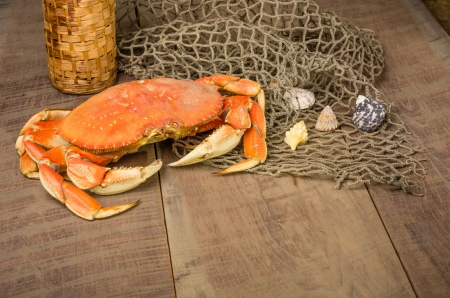 A Dungeness crab ready to be cooked with wine bottle and net photo
