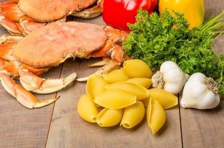 dungeness: Ingredients for making Dungeness Crab Pasta with pasta Stock Photo
