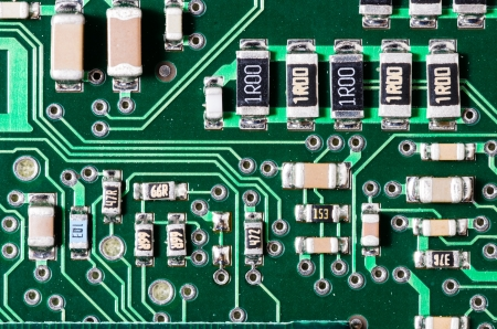 Closeup view of an electronic printed circuit board photo