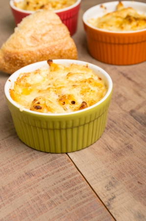 Bowls of baked Dungeness Crab macaroni and cheese photo